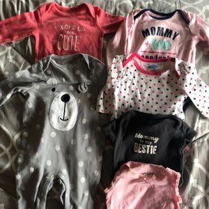 Varied brand 3-6 month onesies, 2 footless pajamas